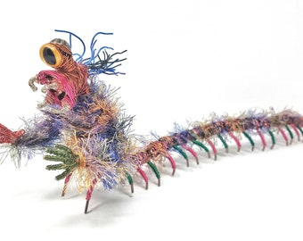 Motley Centiclops - Bendable Copper Wire Creature - fun, unique, fully poseable! Hand-made out of recycled & repurposed materials.