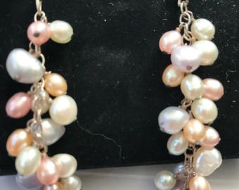Silver Fresh water pearl earrings & Necklace  set
