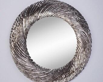 Miroir Design FLOW SILVER Gothique Contemporain Rond Argenté 102 cm