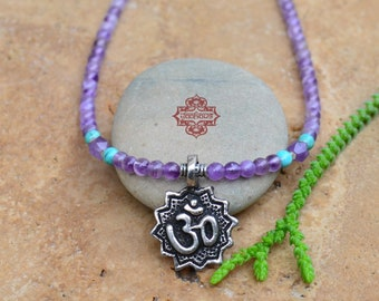 Metal OM Pendant on Amethyst Beaded Gemstone Necklace, Yoga Jewelry, Yoga Necklace, OM Jewelry, OM Necklace, Boho Jewelry, Boho Necklace