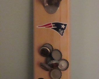 New England Patriots Wall Mounted Wooden Magnetic Bottle Opener with magnetic cap catcher bottle cap catching opener