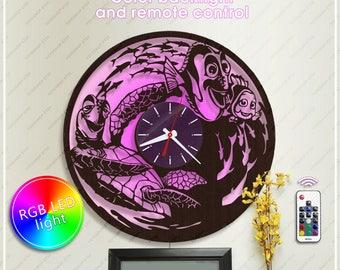 Finding Nemo Clock with Backlight| Disney Clock|Wooden Clock| Disney Horloge|Disney Gift| Wall Clock *w016 Handmade Clock