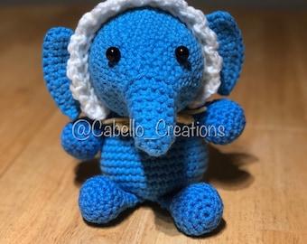 Baby Elephant with Bonnet - Crocheted and Stuffed (Amigurumi)