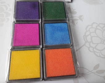 x 6 mixed rubber stamp square 6 colors for long stamp held 4 x 4 cm each