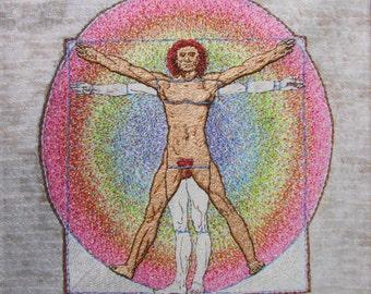 Vitruvian Man, Da Vinci, print, on canvas, one figure hand embroidered, 11x11