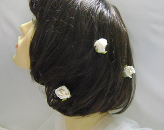 3 Ivory Large Rosebud Hairpins Also Available in Pale Pink & Ivory