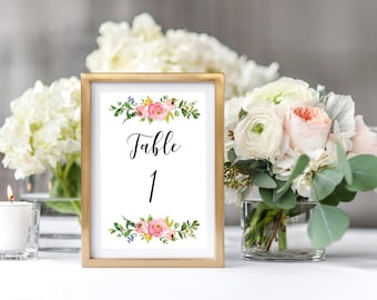 Table Numbers, Table Sign, Wedding Template