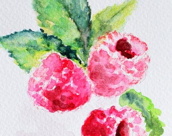 Original Watercolor Painting, Still Life, Raspberry Painting, Fruit Art 4x6 Inch