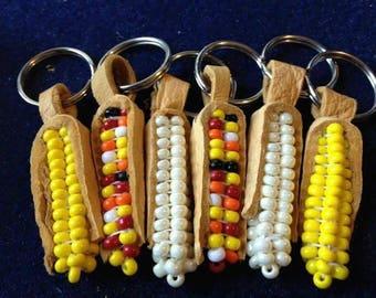 Beaded Corn Cob Key Chain