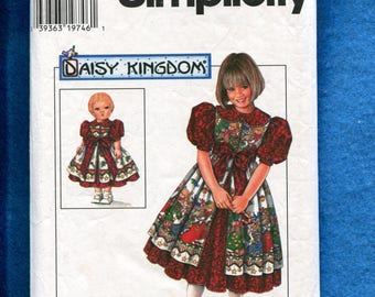 Simplicity 0699 Daisy Kingdom  Dress & Pinafore for Little Girls  Raised Waist and Matching Doll Dress  Sizes 5..6..7