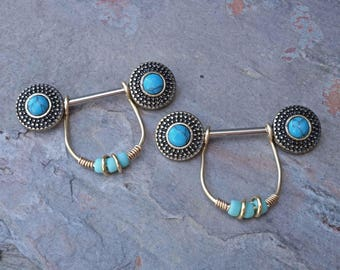 Opal Tribal Gold Nipple Ring Nipple Barbell