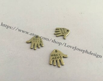 wholesale 100 Pieces /Lot antique bronze 12mmx13mm Hand Made charms (#0207)
