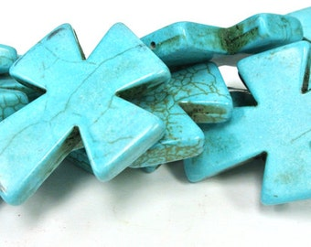 """Turquoise Cross Beads, Large Crosses, 50x40mm Magnesite Cross, Turquoise Howlite Crosses, 16"""" Strand, 8 PCS, Cross Jewelry, Wholesale Beads"""