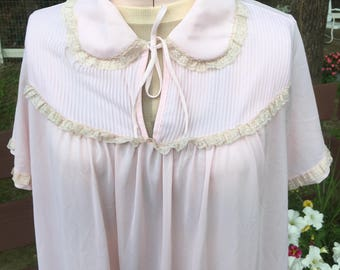 Vintage Nightgown, pale pink with ecru lace and pintuck detail .