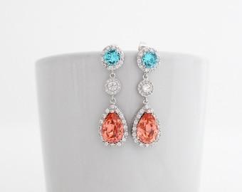 Aqua and Coral Bridesmaid Earrings, Luxury Bridesmaid Jewelry, Glamorous Wedding Earrings, Aquamarine Wedding Jewelry, Old Hollywood Wedding