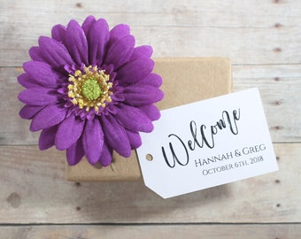 Welcome Tags (20pc) - White Thank You Labels - Wedding Thank You Tag - Personalized Escort Cards - Bride and Groom Customized Tags