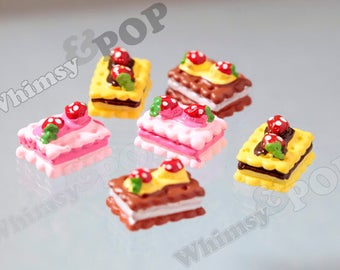 6 - Kawaii Pink Yellow Chocolate Yummy Strawberry Cake Biscuit Dessert Deco Resin Cabochons, Cake Cabochon, 12mm x 16mm x 10mm (R7-132)
