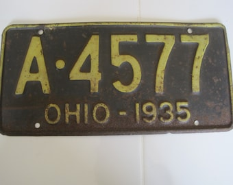 Vintage Ohio 1935 License Plate A 4577