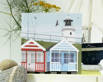 Stripey Beach Huts Card - Blank, British Seaside
