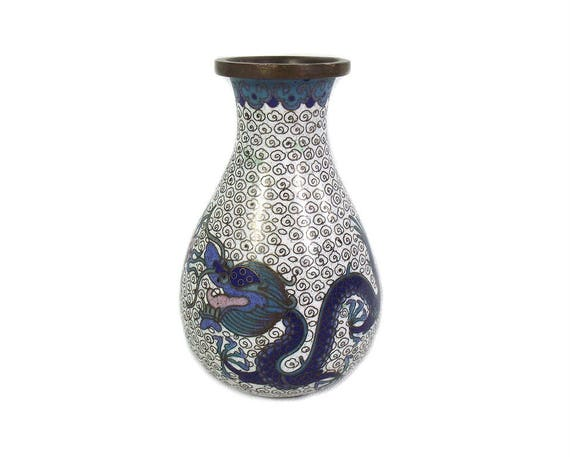 Antique Chinese Cloisonne Vase with Imperial Dragon