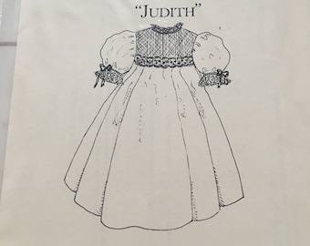 "Kay Guiles Designs ""Judith"" Girls Smocked French Dress Size 3 4 5 6 8 10 UC Uncut FF"