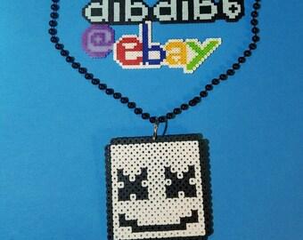 Marshmello kandi perler, necklace, rave, PLUR, EDC, art, melty, hama, bead