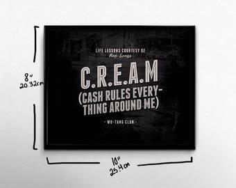 Hip Hop Wall Art Wu Tang Clan Rap Poster CREAM Life Lessons Art Print Black White