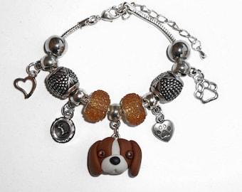 Bracelet charm beagle dog polymer clay