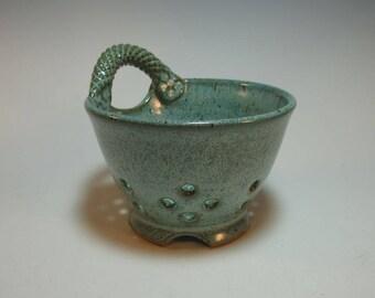 Berry Bowl Fruit Bowl Colander - Speckled Blue-Green Handmade Pottery
