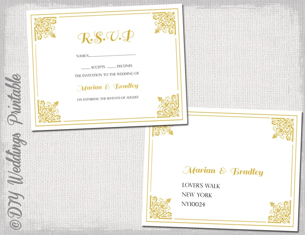 RSVP Postcard Template Download DIY Gold Classic