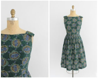 vintage 1950s forest green abstract medallion print sundress | vtg 50s printed cotton dress | small