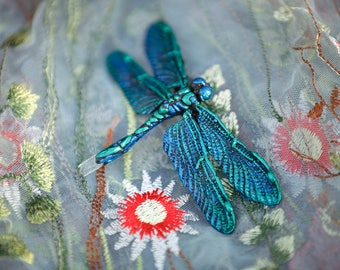Dragonfly brooch with crystal in green/blue 11x6, 5 cm