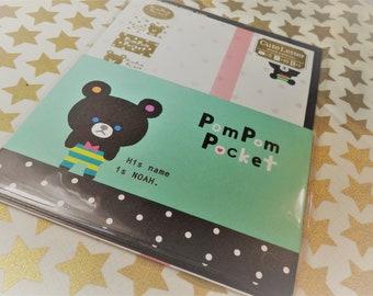 Kawaii 16 Pc. PomPom Pocket mint Letter Stationery Set great for Scrapbooking, Notes, Snail Mail, Pen pal, School, Paper, Stationery, Diy.