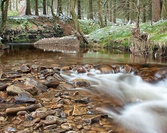 Winter stream, running into Howden reservoir, in the Peak District National Park. Digital download. Printable art. Instant download.