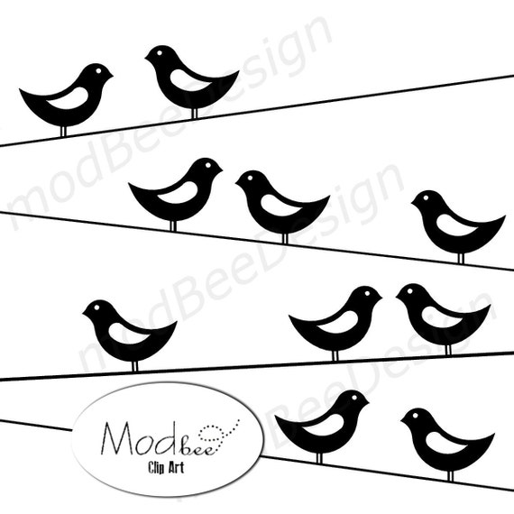 Mod Birds on Wire Clip Art Digital Scrapbook Clip Art Paper