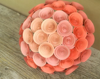 Peach Ombre Paper Flower Bridal Bouquet; Large Coral Bouquet; Light Peach, Salmon, and Coral Ombre