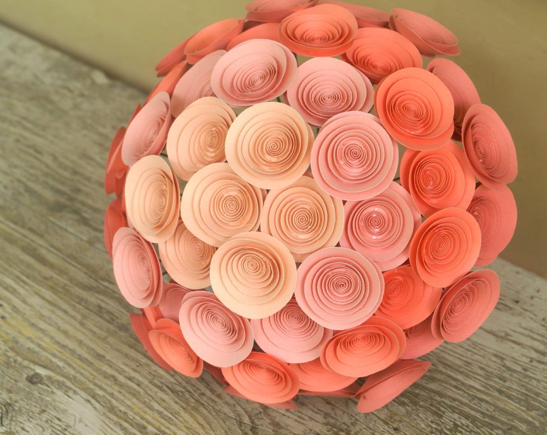 Peach ombre paper flower bridal bouquet large coral bouquet zoom izmirmasajfo