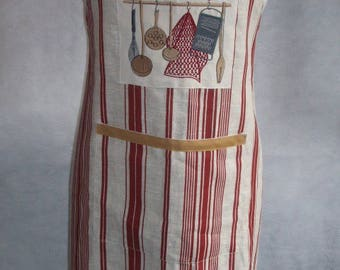 Woman apron / / custom apron / / food kitchen / / linen apron / / Applique kitchen old / / mother's day