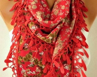 Red Floral Cotton Scarf,Summer Scarf,Bohemian,Birthday Gift Cowl Scarf Gift For Her,for Women's Fashion Accessories