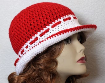 Red womens cloche hat, Crocheted bucket hat, Handmade red hat, Beach hat, Sun hat, Gift for her, Brimmed hat, Travel hat. Red and white hat