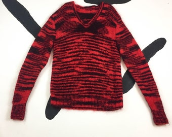 80's red striped zig zag fluffy mohair knit sweater tunic 1980's super thick chunky plush long sweater Tanya V-neck punk rocker S M L