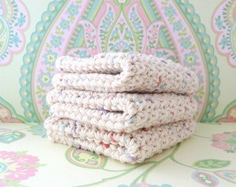 Crochet Ivory and Pastel Specks Wash Cloths/Face Cloths/Bath Cloths/Kitchen Cloths/Dish Cloths - 100% Cotton - Set of 3 - Made to Order
