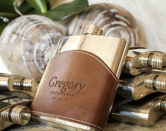 Personalized Leather Flask, Genuine Leather Hip Flask, Leather Wrapped Flask: Father of the Bride, Gift for Him, Valentine, Groomsmen Gift