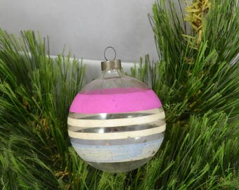 Vintage Unsilvered Glass Ball Christmas Ornament, Pink White And Blue Stripe Clear Glass Ornament Made In USA