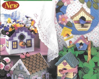 Delightful Birdhouses Designed by Carole Rodgers, Projects For Plastic Canvas, Vintage Annie's Attic Leaflet, Wreath in Plastic Canvas