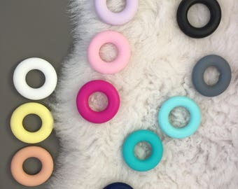 Silicone Donut/ Teething Toys/ Certified/ Rubber/ Donuts Teether/ DIY/ Teething Ring/ Food Grade/ Soft Silicone Beads/ Teething Supplies