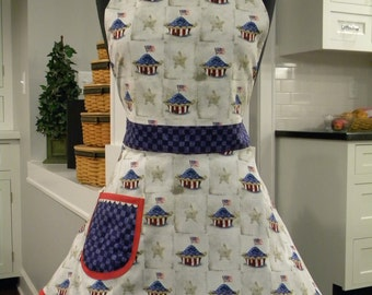 Womens Apron-American Pie Patriotic Full Sweetheart Apron