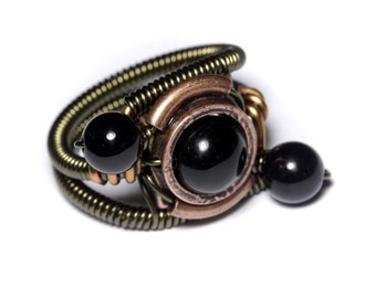 Onyx ring, Steampunk Jewelry - Ring - Black Onyx - ORBIT (Custom size available - see description)