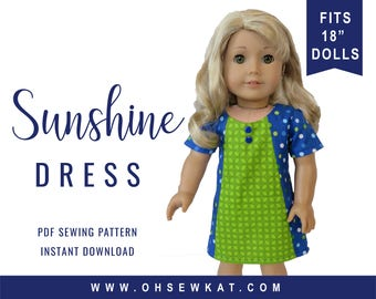 PDF Sewing Pattern for 18 inch American Girl ® Doll Clothes - Sunshine Dress ePattern - easy to sew doll clothes