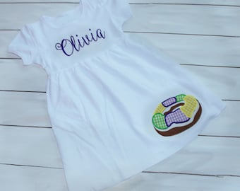 King Cake Mardi Gras Dress - Girls Mardi Gras Dress - Personalized Mardi Gras Dress - Toddler Mardi Gras Dress - Mardi Gras Outfit - Dress